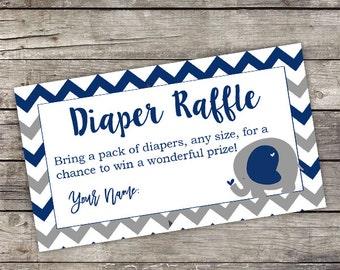 Navy Elephant Diaper Raffle Tickets - Instant Download - Navy Elephant Baby Shower Insert - Diaper Raffle Tickets - Baby-106
