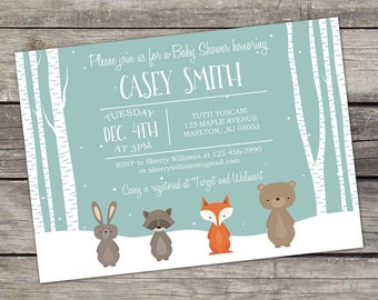 WE PRINT Winter Woodland Baby Shower Invitations -  Woodland Baby Shower - Forest Animal Baby Shower - Printed Invitations 223