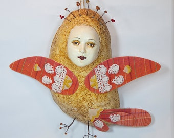 Art Doll Sirin. Pendant interior.  Bird.  Handmade. Papier mache