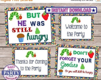50% OFF SALE Hungry Caterpillar Instant Download Party Signs easily print from home, boys birthday downloads, caterpillar party signs, fun,