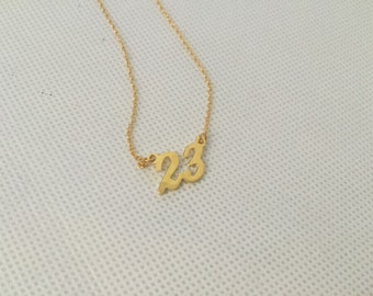 Gold Custom Necklace, Cut Out Nameplate Necklace, Personalized Initial Number Necklace
