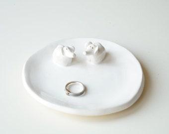 Wedding Ring Holder, Engagement Ring Plate, Wedding Gift, Wedding Decor, Ceramic Plate, Elephant Plate, Ceramics and Pottery