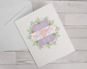 Fabulous Mum Mothers day card Birthday card  floral card floral garland card thank you card designed by Doodle Dot