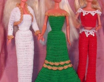 Crochet Fashion Doll Barbie Pattern- #139 HOLIDAY COSTUMES