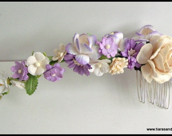 Purple toned Mulberry flower bridal hair vine with a comb,floral hair comb, floral hair vine,flower hair vine, bridesmaid hair comb,weddings