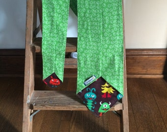 Flannel Scarf Tie - Green Egg Dots with Monsters Men's Women's Super Soft custom, Winter fashion neck scarf