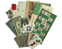 Green ephemera pack: 20 vintage pieces, pages, stamps, map pieces, game pieces, tickets. Green ephemera pack.