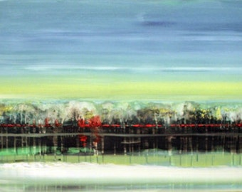 """Landscape Acrylic Painting Modern Abstract 48""""X24"""" Sky Sea Original Painting"""