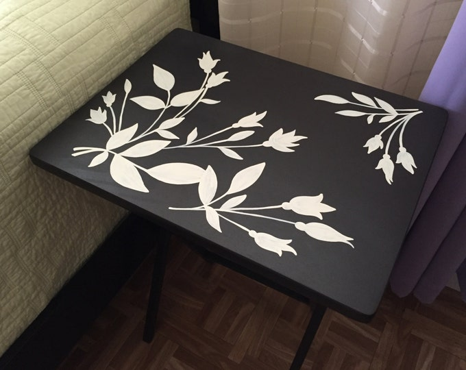 TV Tray Table, Birthday Gift Idea, Wood Folding TV Tray, Custom Folding Coffee Table, Flower Designed table