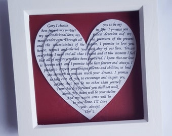 Framed song lyrics, Anniversary gift, wedding gift, framed wedding vows, first dance song, poem, framed reading, unique gift idea