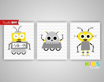 Printable DIY Nursery Art Prints, Yellow, Grey, Robots, Aliens, Set of 3, 8x10 JPG files ( n013 ) ( 009set810 )