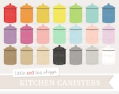 Kitchen Canister Clipart, Canister Clip Art Container Baking Bakery Cooking Flour Sugar Cute Digital Graphic Design Small Commercial Use