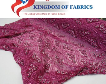 Royalty bridal wedding beaded mesh lace fuschia. Sold by the yard.