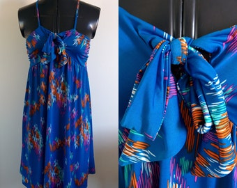90s Babydoll Dress / size S / Summer dress / Vintage 1990s dress / blue sundress