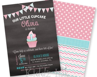 1st Birthday Cupcake Invitation | Chalkboard with Pink and Aqua | 5x7 | Two Sides | Customized DIGITAL FILE for Printing