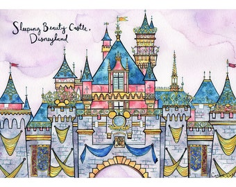 SLEEPING BEAUTY CASTLE Disneyland Print 11X14 Ink and Watercolor Painting