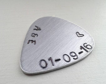 Personalized Hand Stamped Aluminum Guitar Pick or Keychain - With Initials, Date and Heart - Customized Pick Valentine's Gift Anniversary