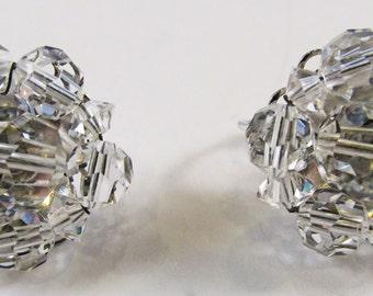 Vintage 1950s Signed Marvella Clear Crystal Earrings