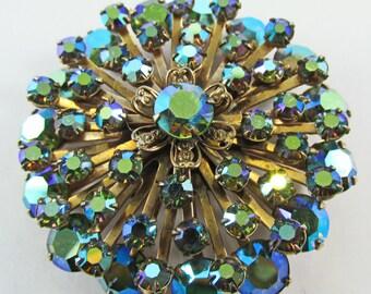 Iridescent Vintage Teal AB Rhinestone Circular Starburst Pin