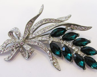 Vintage - Collectible - Floral Rhinestone Pin - Jewelry - Silver - Rhinestones - Floral - Pin - Brooch - Elegant - Sparkling - Women's -Gift
