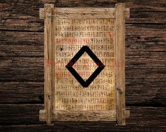 Ingwaz print, rune illustration, Elder Futhark art, viking home decor, magical illustration, esoteric, magic, occult canvas poster #339.22