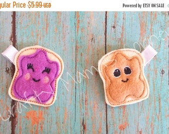 ON SALE Pb and J Hair Clips Peanut Butter and Jelly Bff
