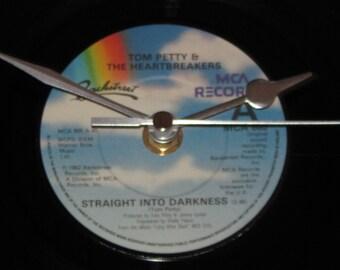 "Tom Petty & the Heartbreakers straight into darkness 7"" vinyl record clock"