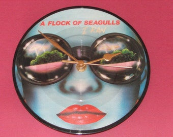 "A Flock of Seagulls i ran  7"" picture disc record clock"