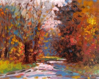 Little Italian painting autumn in the forest original oil Biagio Chiesi Italy