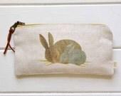 Canvas Pencil Case / Rabbit - Canvas Zipper Pencil Pouch, Zipper Pouch, Canvas Pouch, School Supplies, Organize