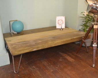 Low Industrial Coffee Table  Mid Century Modern Style