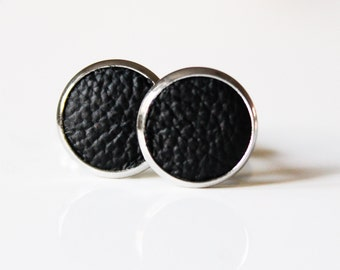 Black Leather Cuff links | Anniversary Gift | Wedding Cufflinks for Groom | Gift for men l Groomsmen CuffLinks Gift | Gift For Fathers Day