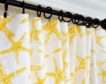 Yellow Curtains.Yellow Grey Window Curtain.Nautical Curtains.Yellow Nursery  Curtain.Kitchen  Yellow And White Curtains