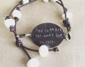 Psalm 46:5 Leather Pearl Oval Brass Bracelet