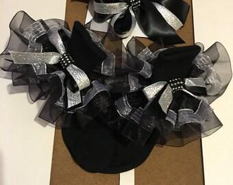 Black and silver girls socks