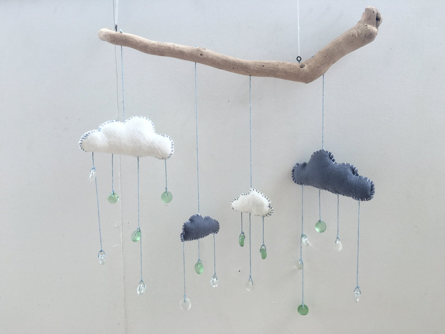 Driftwood Ecofelt Cloud Mobile Sunshower by TheMermaidShack # Sunshower Blue_021322