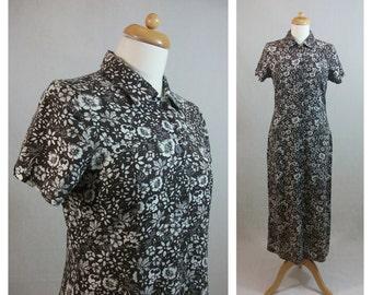80s 90s vintage dress. Floral print dress 70s style. Brown and white dress. Short sleeve dress. Shirtwaist dress. Maxi dress. Size M - L.