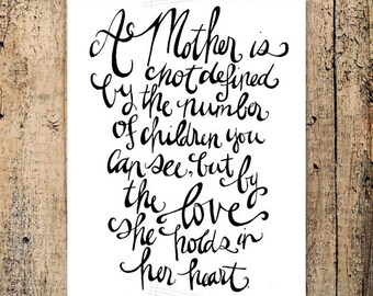 8x10 Hand Lettered Print Definition of a Mother -- INSTANT DOWNLOAD