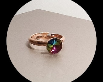 Rainbow Crystal Adjustable Rose Gold Plated Ring by Emerald Forest Designs