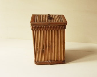 Vintage Wicker small box 70 years, vintage wooden box 70s,