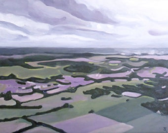Abstract landscape painting, original artwork, canvas art, wall art, New Zealand aerial landscape, flying, travel, free shipping