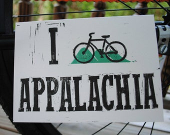 I Bike Appalachia - Hand-Printed Greeting Card - Bicycle