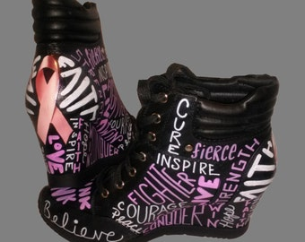 Breast Cancer Sneakers / Black Breast Cancer Sneakers / Survivor Sneakers / Breast Cancer Wedge Sneakers / Hand Painted Sneakers / Decoupage