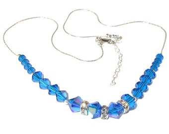 CAPRI BLUE Crystal Necklace Swarovski Elements Sterling Silver