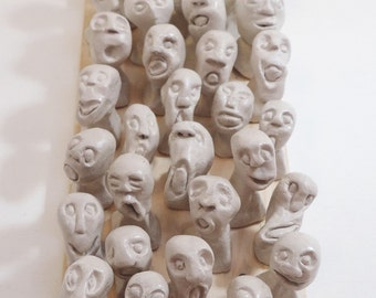 Modern Wall Art Sculpture – Air dry clay Figurine Heads on a Wooden panel