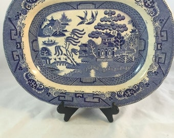 Antique Blue Willow Platter From England