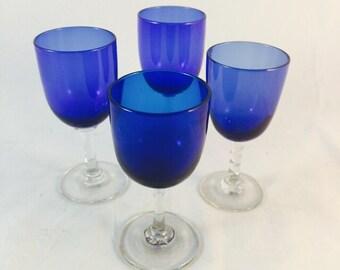 Four Vintage Conalt Blue Glasses