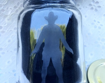 Small glass etched jar ; cowboy stash jar, container , western, storage , weed , herb , gifts , stash box , weed jar , snack container