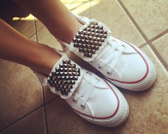 Custom Studded White Converse All Star High Tops Chuck Taylors ALL SIZES & COLORS! Wedding Converse; White High Tops; Sneakers; Custom Shoes