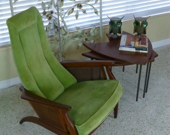 1960s Bogdon & Gross Sculptural Walnut Lounge Chair Mid Century Vintage